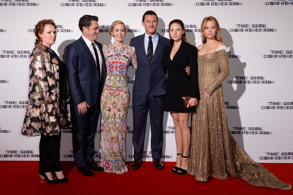 LONDON, ENGLAND 20TH SEPTEMBER 2016: Author Paula Hawkins, Director Tate Taylor, Emily Blunt, Luke Evans, Rebecca Ferguson and Haley Bennett at the world premiere of 'The Girl on the Train' at the Odeon Leicester Square in London, England on the 20th September 2016. Photo by Joanne Davidson/SilverHub 0208 004 5359/07711 972644 Editors@silverhubmedia.com