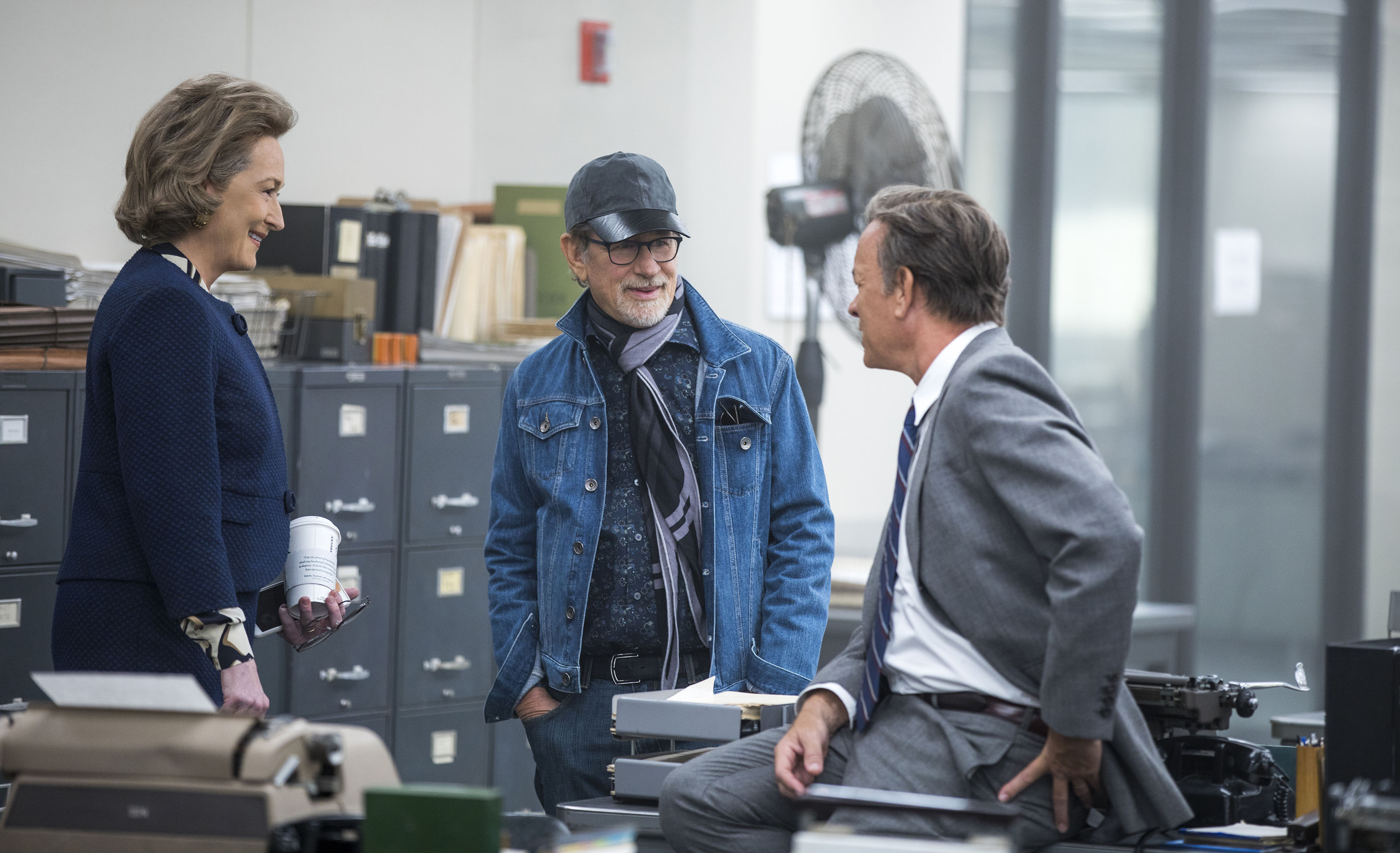 NOR_D00_052317_7961_R – Meryl Streep, Director Steven Spielberg, and Tom Hanks on the set of THE POST. Photo Credit: Niko Tavernise.